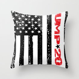 Trump 2020 American Flag Vintage Tee Throw Pillow