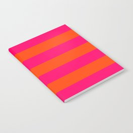 Bright Neon Pink and Orange Horizontal Cabana Tent Stripes Notebook
