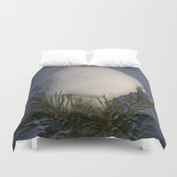 egg Duvet Covers featuring Snow Egg by Dorothy Pinder