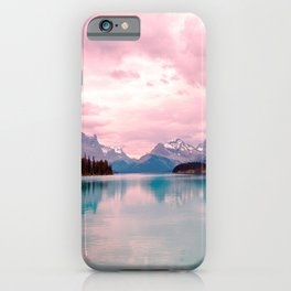 Mountains in Violet Pink Blue iPhone Case