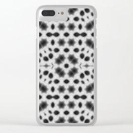 Black and White Mushroom Mandala Clear iPhone Case