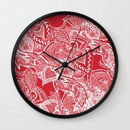 Modern red flame scarlet white hand drawn floral mandala pattern Wall Clock