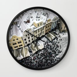Snowy roofs of Old Town.. Wall Clock