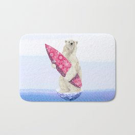 Polar bear & Surf (pink) Bath Mat