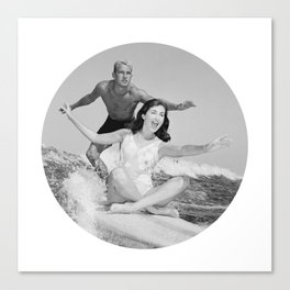 Tandem Couple Surfing Canvas Print