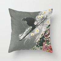 skiing Throw Pillows featuring Spring Skiing by Sarah Eisenlohr