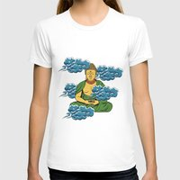 buddah T-shirts featuring Sakyamuni Buddah In The Clouds by Sarah Eldred