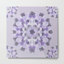 Crystals Succulents Mandala LILAC Metal Print