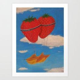 flying strawberries  Art Print