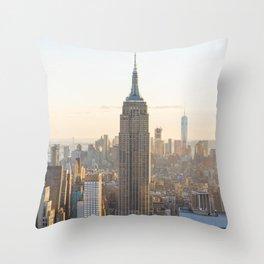 Golden New York Throw Pillow