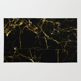 Golden Marble - Black and gold marble pattern, textured design Rug