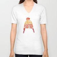 hat V-neck T-shirts featuring Jayne Hat by Nana Leonti