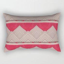 Red and Grey Deco Geometric print Rectangular Pillow
