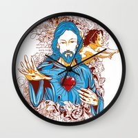 jesus Wall Clocks featuring Jesus  by Tshirt-Factory