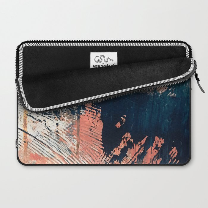 Hidden Gem [1]: an abstract mixed media piece in pink, blue, gold and white Laptop Sleeve