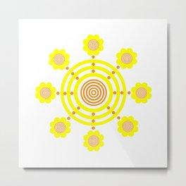 Circular Flower Yellow Orange Spring Summer Design Metal Print