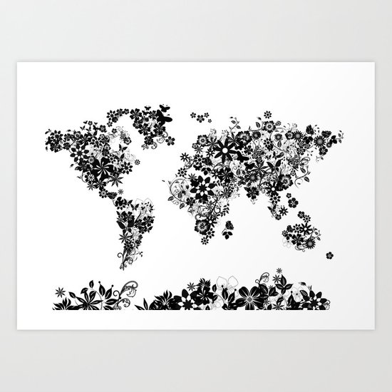 world map floral black and white art print by bekim art society6. Black Bedroom Furniture Sets. Home Design Ideas