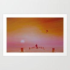 Boy with kite and dog Art Print