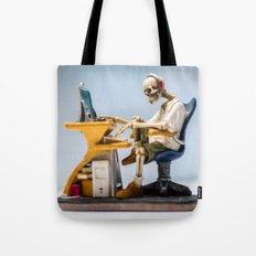 Dead at the Screen (Skeleton) Tote Bag