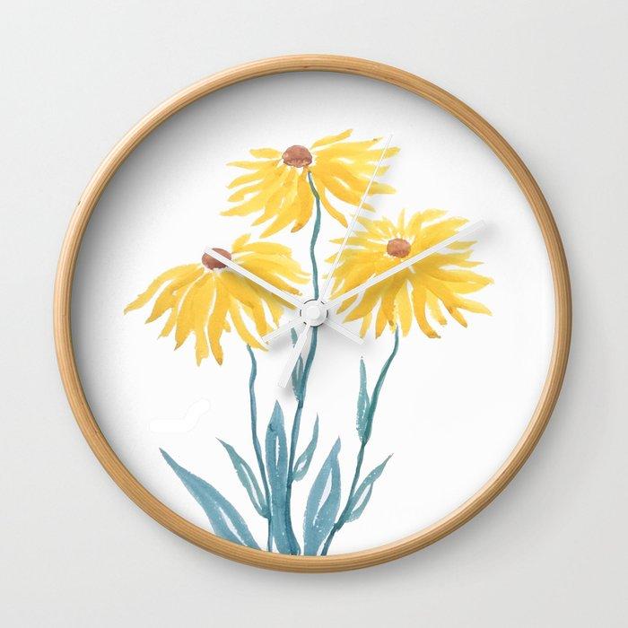 three yellow flowers Wall Clock