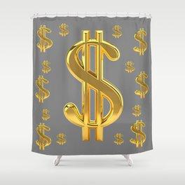 GOLDEN MONEY DOLLARS & CHARCOAL GREY  PATTERN MODERN ART Shower Curtain