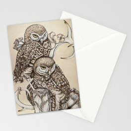Duality - Two Burrowing Owls Stationery Cards