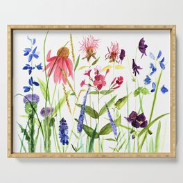 Botanical Colorful Flower Wildflower Watercolor Illustration Serving Tray