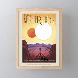 Retro Space Travel Poster NASA-Kepler-16. Framed Mini Art Print