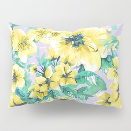 Floral Print Tropical Yellow Pillow Sham