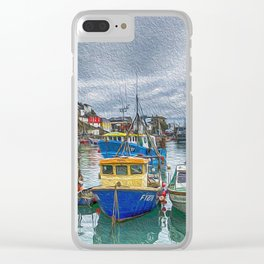 Boats in Mevagissey Harbour. Clear iPhone Case