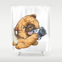 A little dog holding a camera Shower Curtain