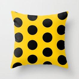 Black polka dots on yellow Throw Pillow