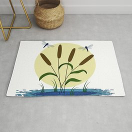 Cattails and Dragonflies Rug