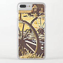Wagon Wheels of the Old West Clear iPhone Case