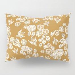 Bee Garden - linocut art, mustard, yellow, garden floral, home decor, bees, florals, flowers print Pillow Sham