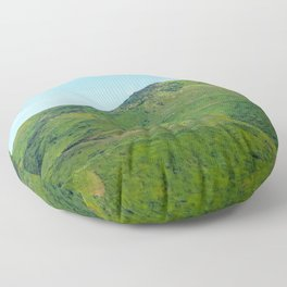 green field and green mountain with blue sky Floor Pillow