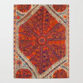 Orange Wildflower Sunshine II // 18th Century Colorful Rusty Red Bright Blue Metallic Happy Pattern Poster