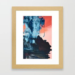Delight: a vibrant abstract painting in blues and coral by Alyssa Hamilton Art Framed Art Print