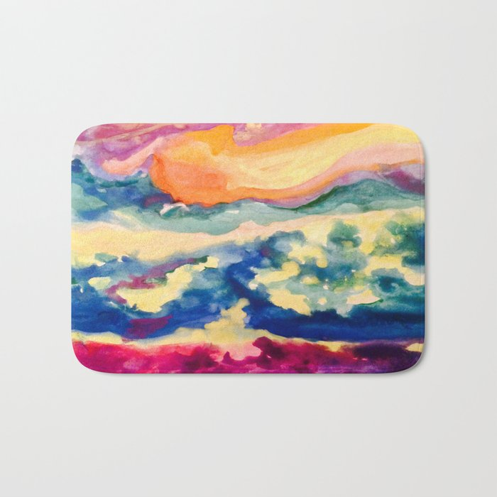 My Starry Watercolor Night Bath Mat
