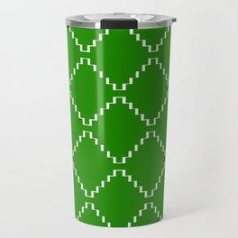 Abstract geometric pattern - green and white. Travel Mug
