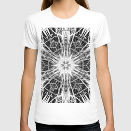 Dark Abstract Art, Marble, Mandala, Kaleidoscope, Surreal, Modern, Black and White T-shirt