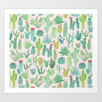 cactus Art Prints featuring Cactus by Abby Galloway