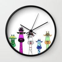 giraffes Wall Clocks featuring Giraffes by Jozi