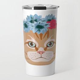 Cat Lover Kitten Flower Summer Sun Feline Gift Travel Mug