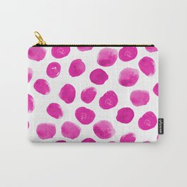 Lila - pink polka dots painted abstract minimal modern office dorm college decor Carry-All Pouch