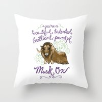 leslie knope Throw Pillows featuring Leslie Knope Compliments: Musk Ox by Shebanimal