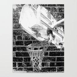 Black and white basketball artwork Poster
