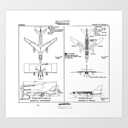 Douglas A-3B Skywarrior Schematic Art Print