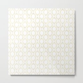 White And Gold Moroccan Chic Pattern Metal Print