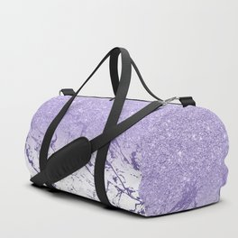 Modern ultra violet glitter ombre marble color block Duffle Bag